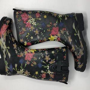 Xhilaration Black Floral Print Rain Garden Boots